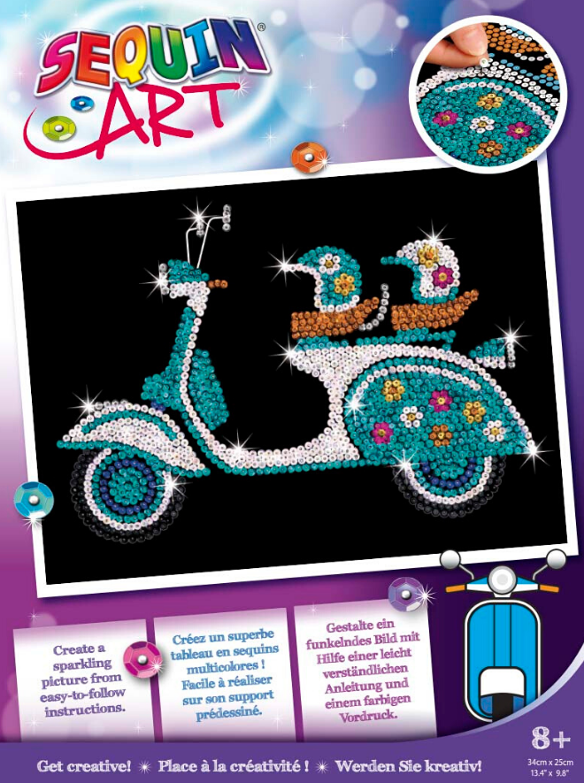 Sequin Art Scooter craft project from the Purple range