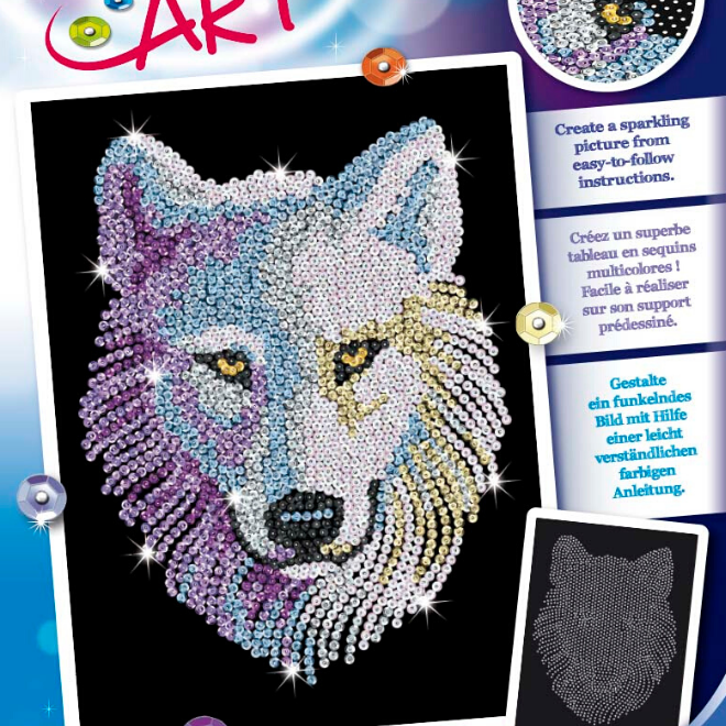 Sequin Art Snow Wolf craft kit from the popular Blue range