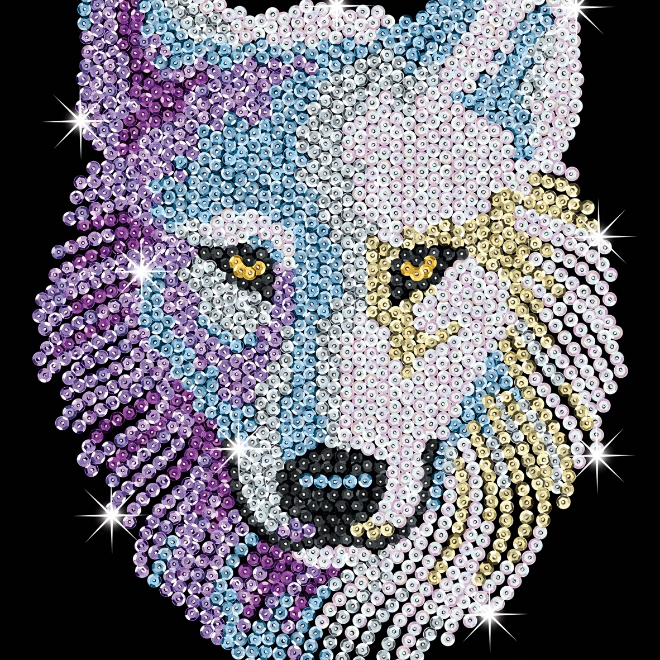 Sequin Art Snow Wolf craft kit from the Blue Range