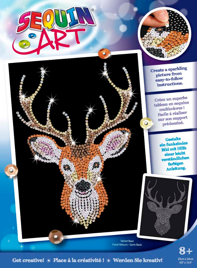 Sequin Art Stag Head craft set from the Blue range