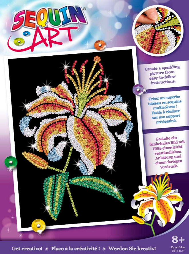 Sequin Art Tiger Lily craft set from the Purple range