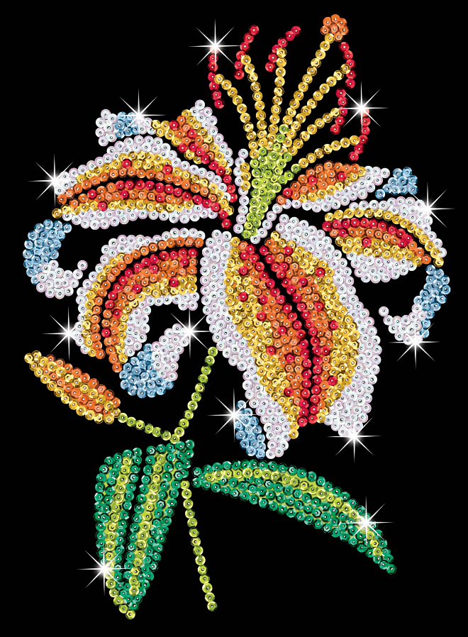 Sequin Art Tiger Lily design from the Purple Range