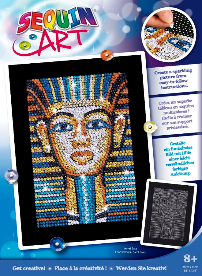 Sequin Art Tutankhamun craft set from the Blue range