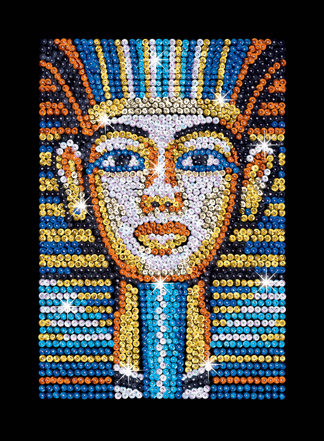 Sequin Art Tutankhamun craft project from the popular Blue collection