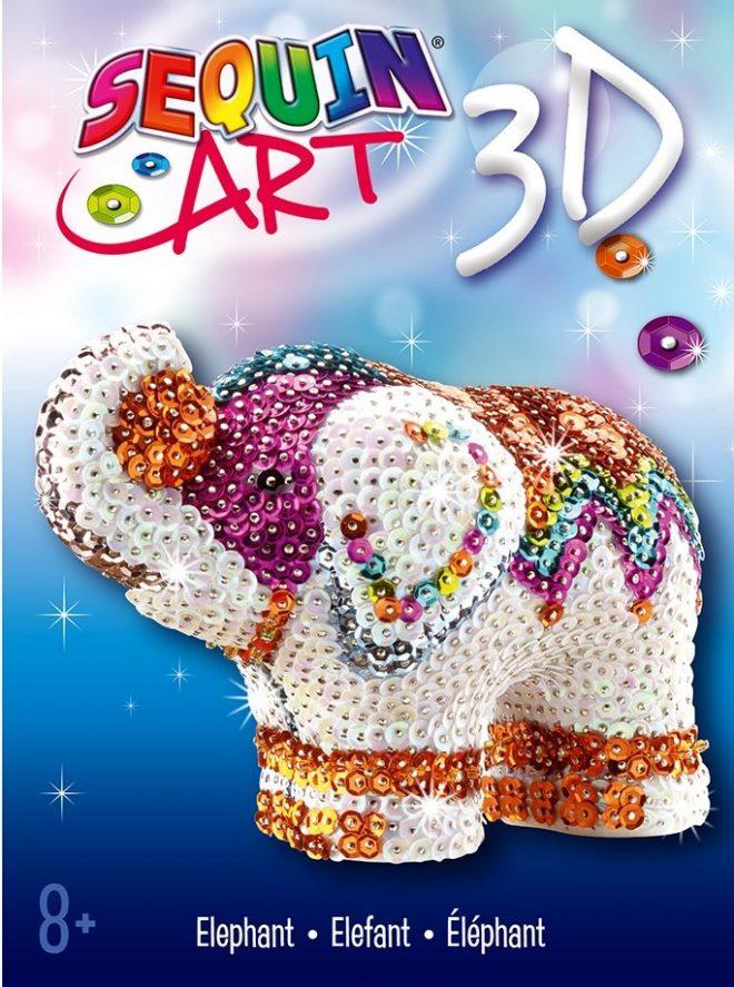 Sequin Art 3D Elephant craft project
