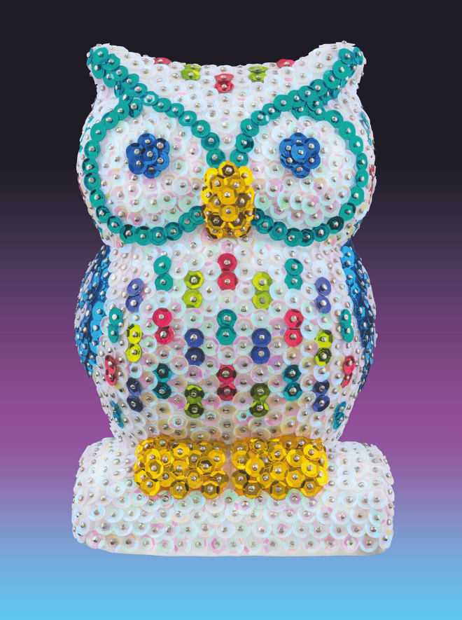 Sequin Art 3D Owl craft project