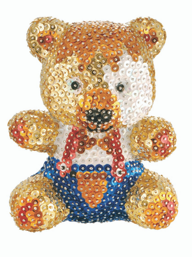 Create your own 3D Teddy figure with this Sequin Art craft kit