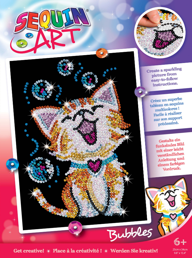 Sequin Art Bubbles Kitten craft project for kids and adults