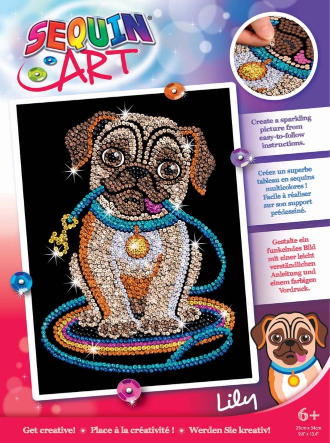 Sequin Art Lily Pug craft set