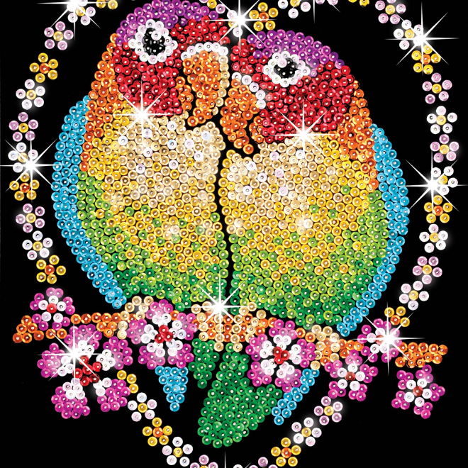 Create your own Love Birds with this Sequin Art craft project