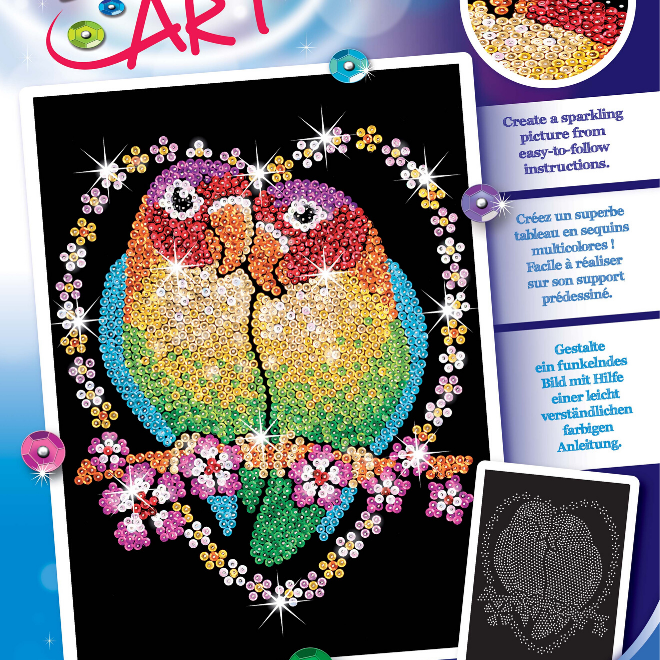 Sequin Art vibrant Love Birds craft kit from the Blue collection