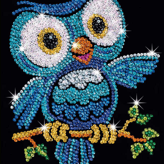 Sequin Art Ozzy Owl craft project for kids and adults