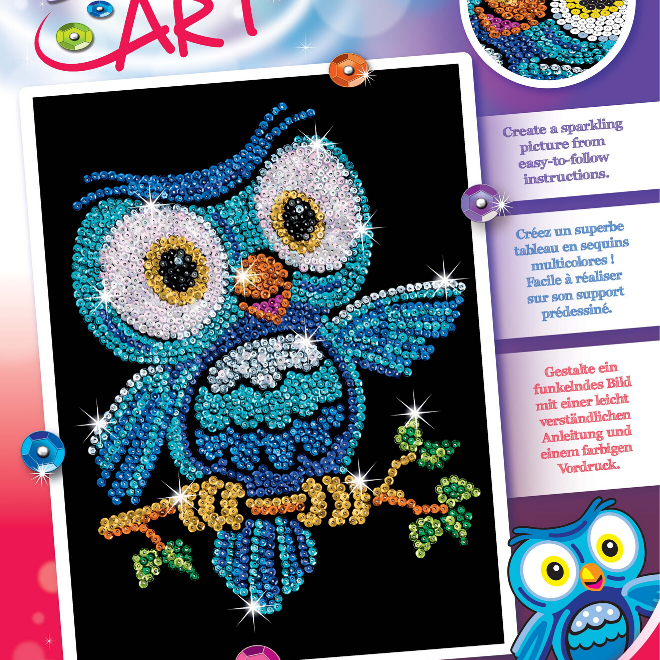 Ozzy Owl Sequin Art craft set