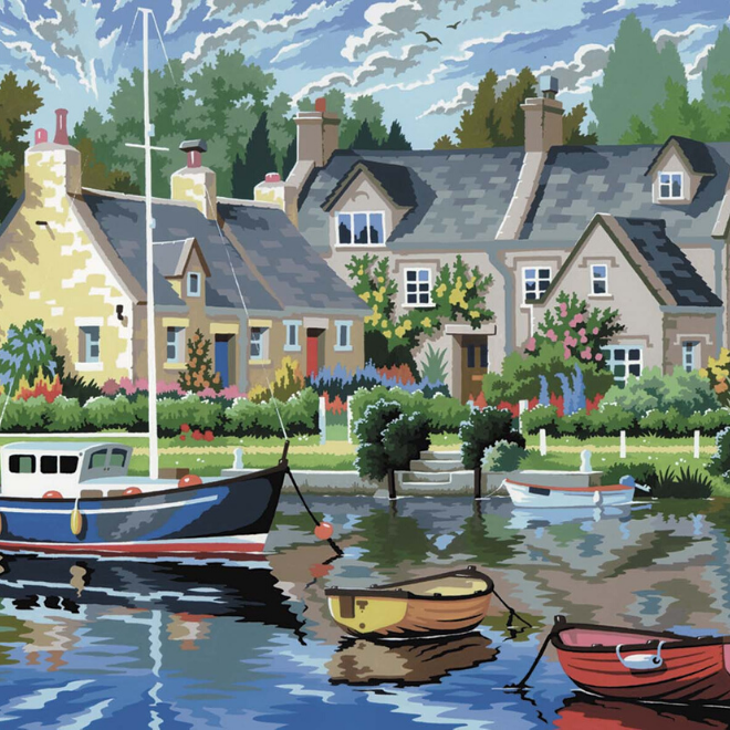 Paint your own Tranquil Waters picture with this Painting By Numbers project