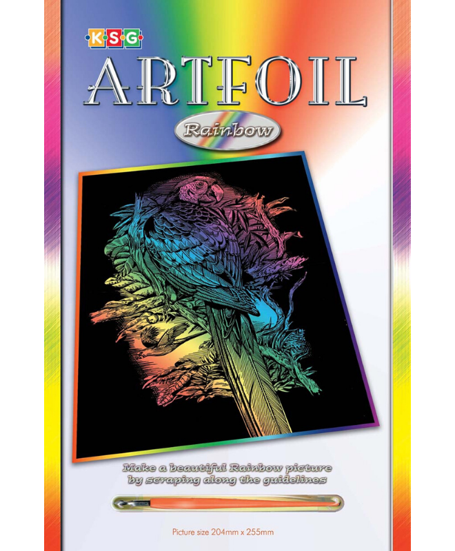 Scratch Art Parrot craft project, ideal for creative adults and kids