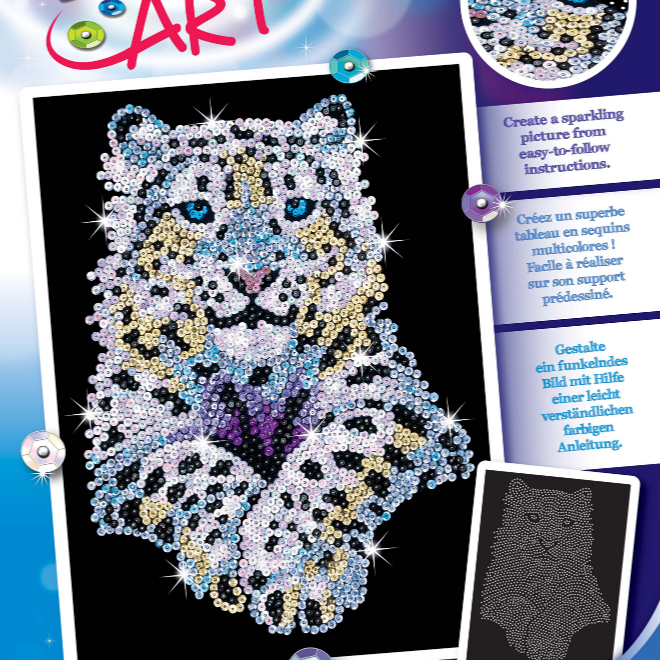 Sequin Art Snow Leopard craft kit from the Blue Range