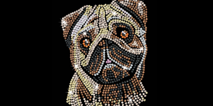 Sequin Art Pug dog craft kit from the Blue collection
