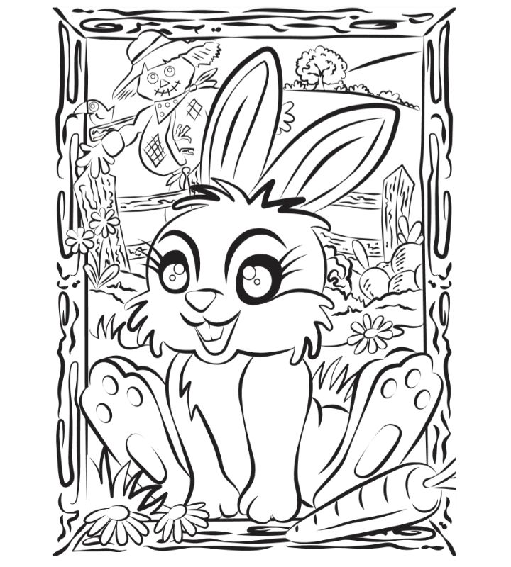 Colour-in Bunny Munch activity sheet