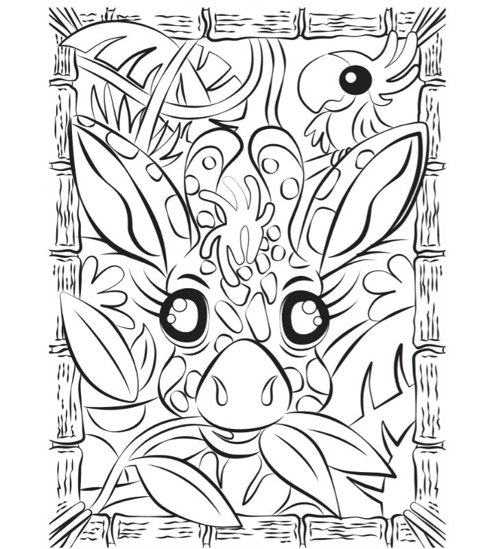 Colouring activity sheet for kids with Giraffe Chomp picture