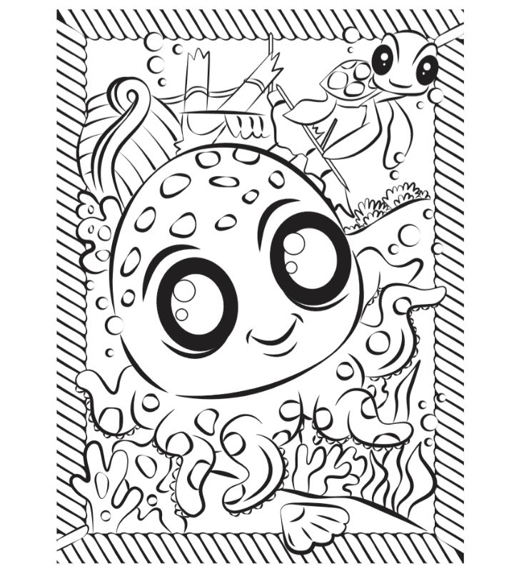 Colouring sctivity sheet for kids - Octopus Splash picture