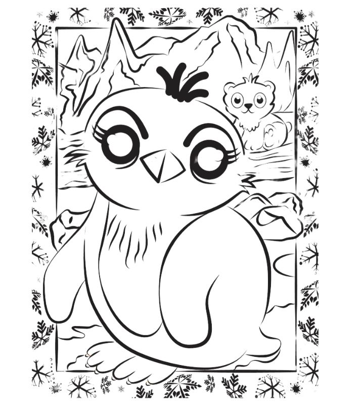 Colour-in Penguin Pip activity sheet for kids