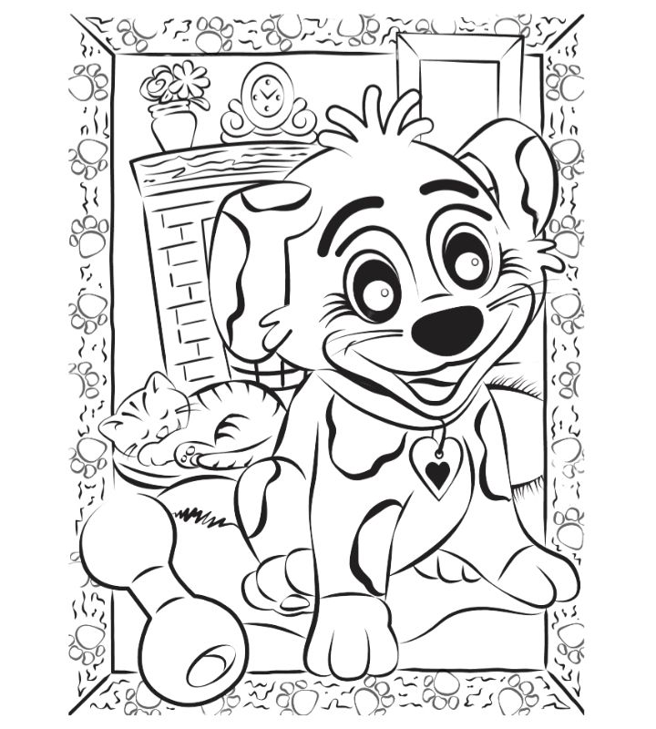 Colour-in Puppy Boop activity sheet for kids