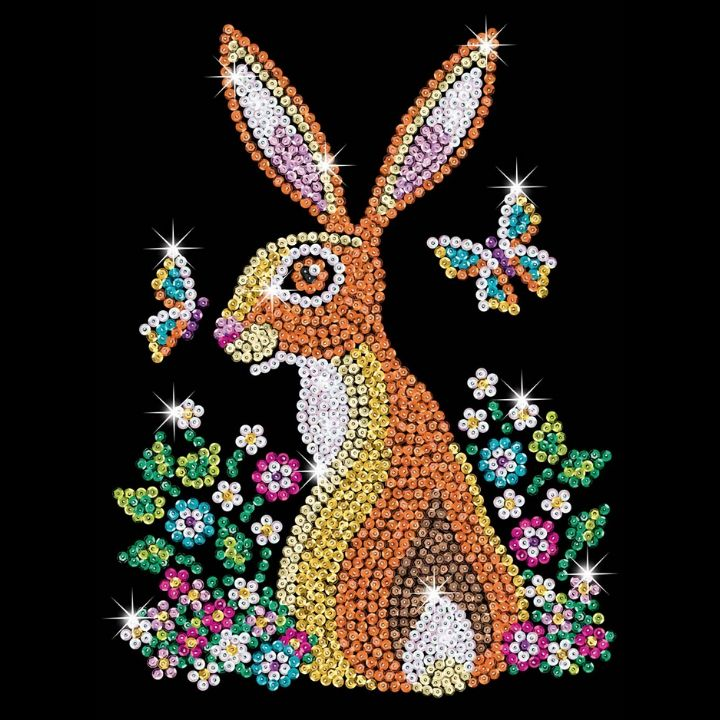 Sequin Art Easter Hare makes a great Easter craft project for the whole family