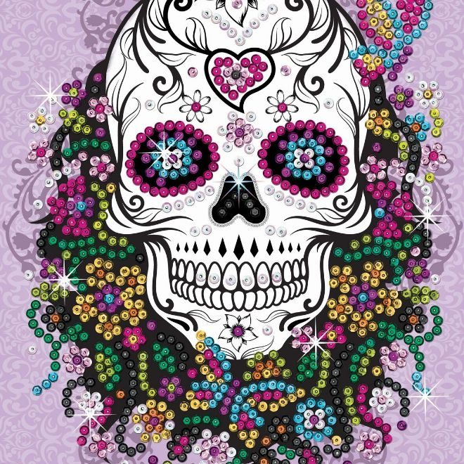 Create your own Flower Skull picture with this sparkly project