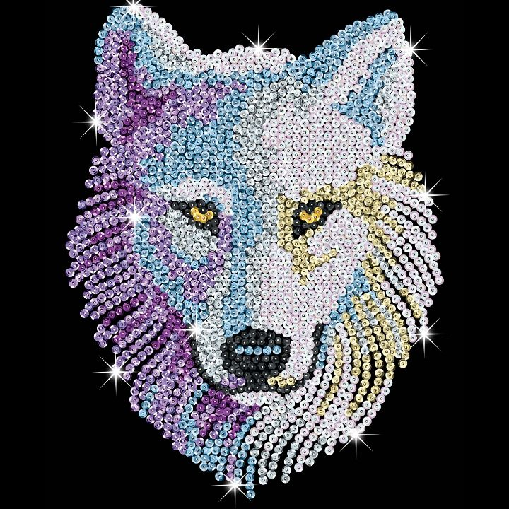 Sequin Art Snow Wolf craft kit