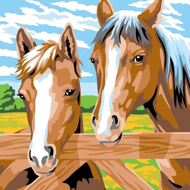 Painting by numbers horses picture