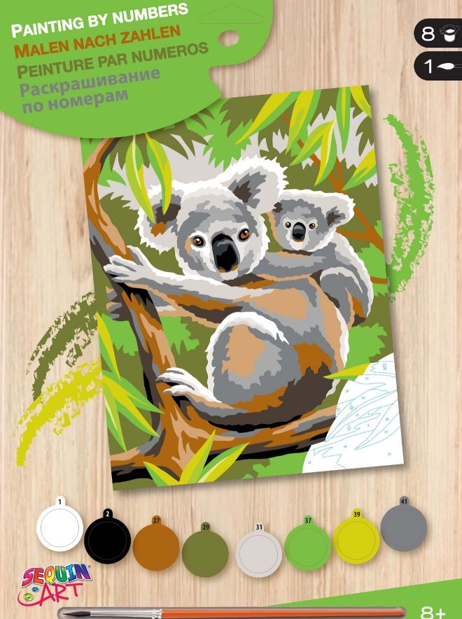 Junior painting by numbers koala bears
