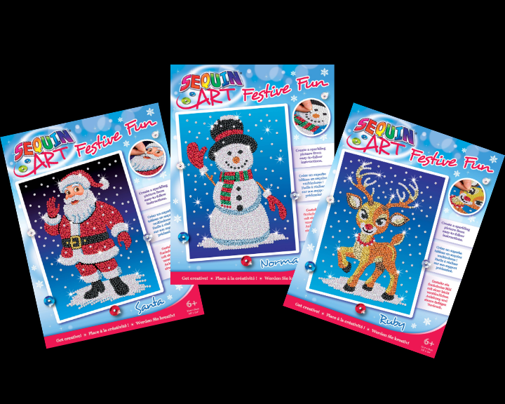 Sequin Art Christmas craft kits from the Festive Fun range