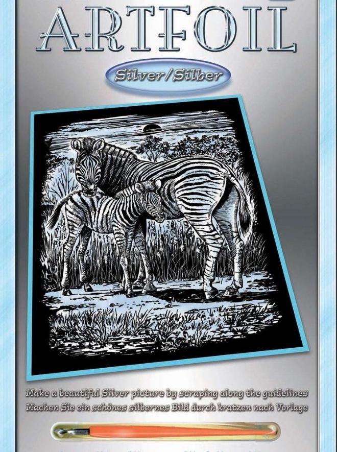Scratch Art Zebra & Foal Artfoil Silver