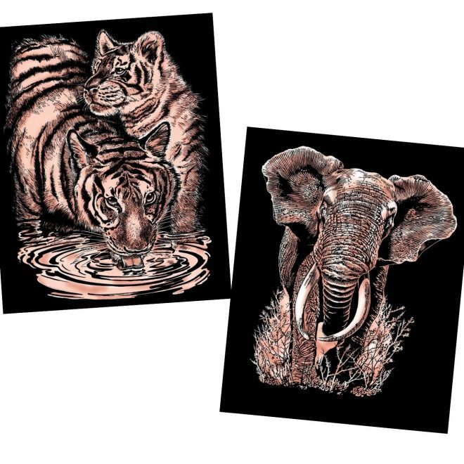 Scratch Art Copper Elephant and Tigers project