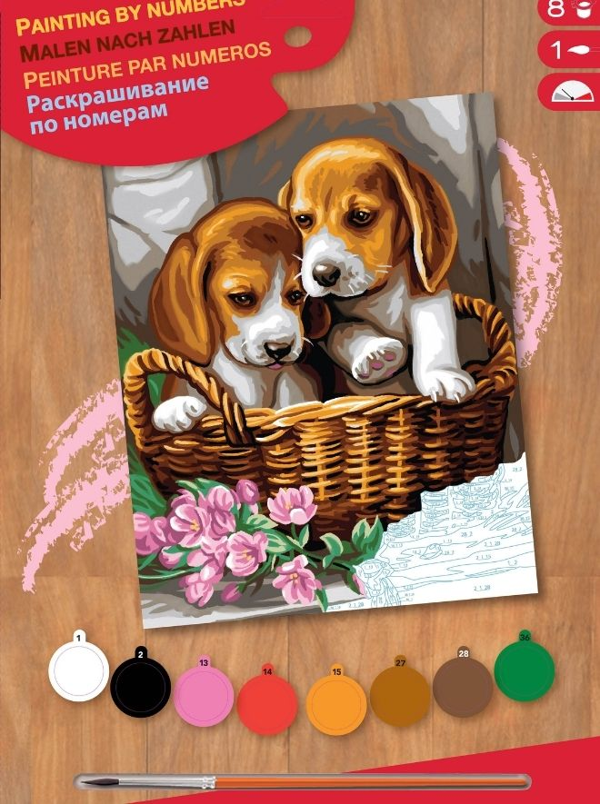 Painting by numbers project featuring basket of puppies