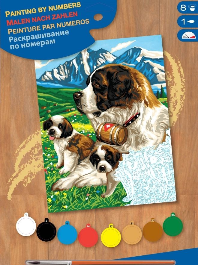 Painting by numbers St Bernard picture