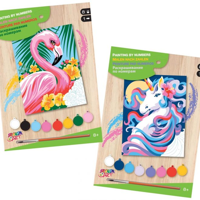 Painting by numbers projects - Flamingo and Unicorn