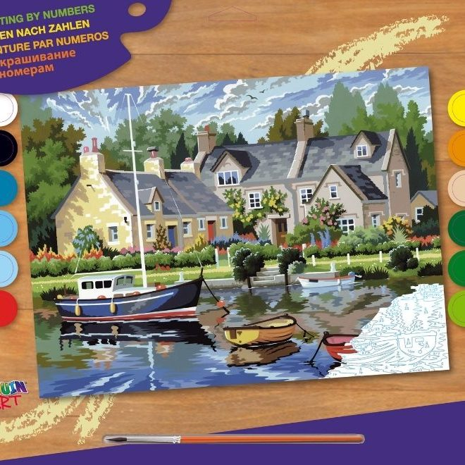 Painting by numbers picture featuring tranquil waters scene