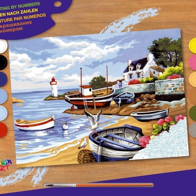Painting by numbers fishing village picture