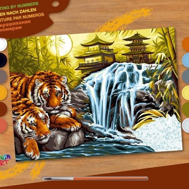 Painting by number project featuring tigers