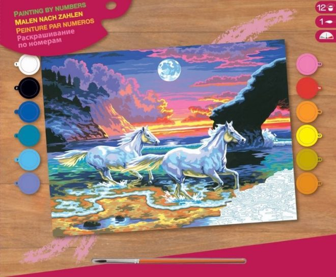 Painting by numbers Horses in the Surf