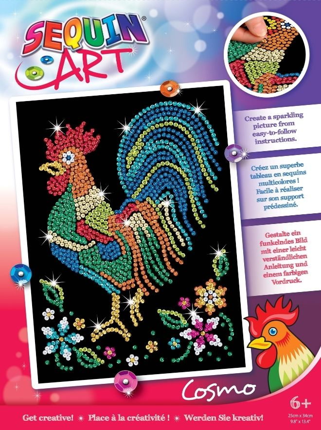 Sequin Art Cockerel craft kit