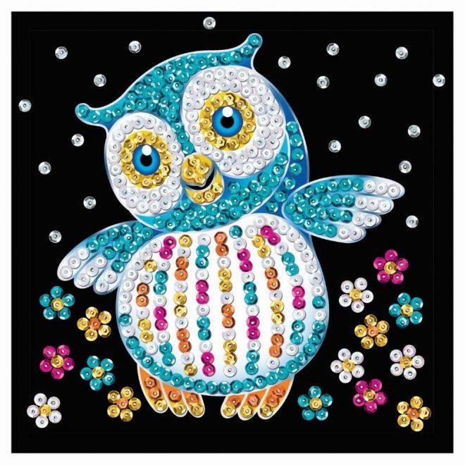 Sequin Art craft project featuring an owl design
