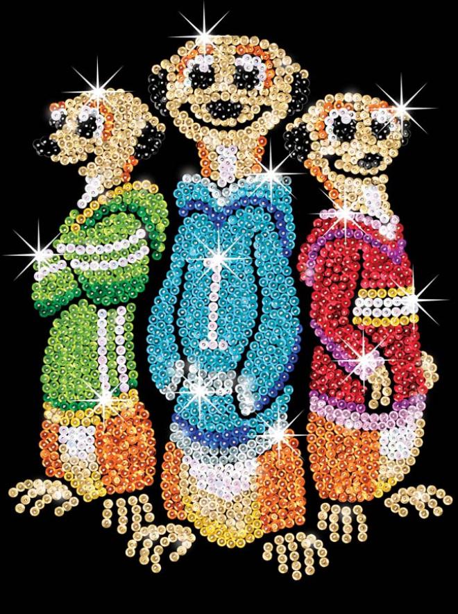 Sequin Art meerkats craft projects