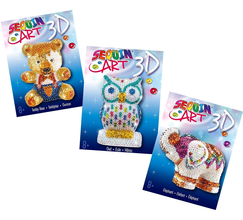 Sequin Art 3D bundle featuring 3 craft kits