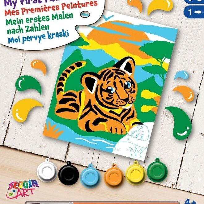 Painting by numbers Tiger project for kids