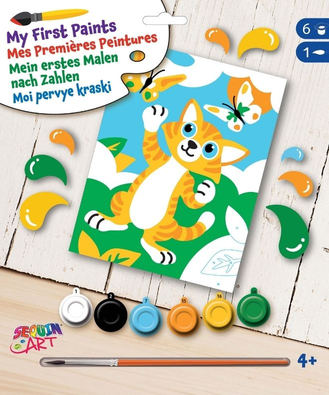 Paint by numbers Kitten project for kids