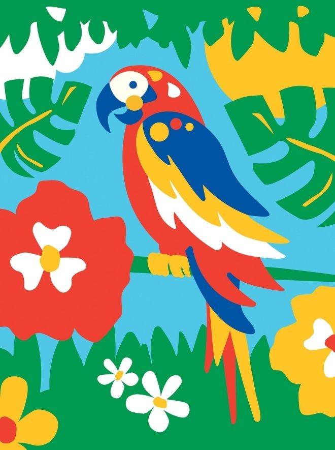 Painting by numbers kids parrot project