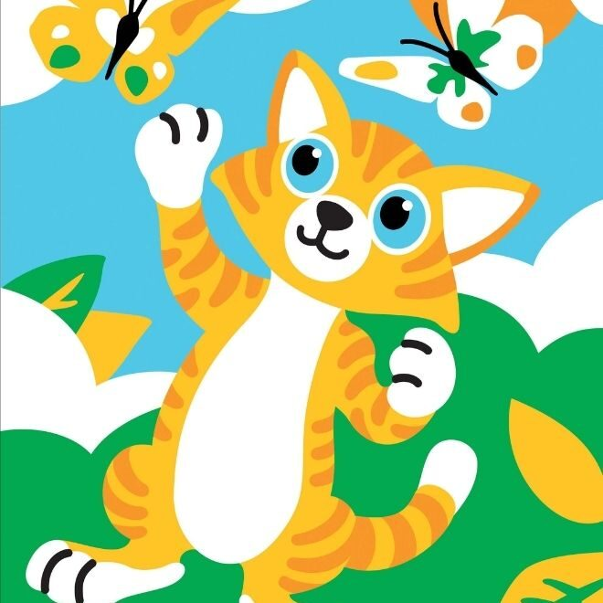 Adorable Kitten painting by numbers project for children
