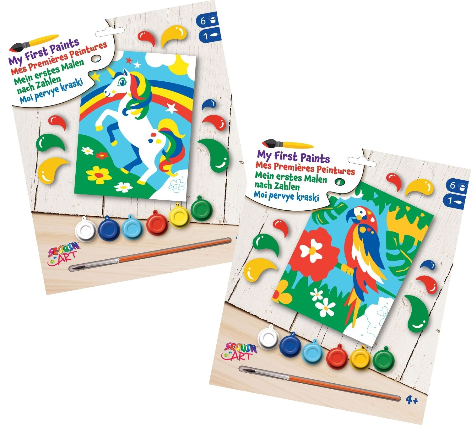paint by numbers twin pack - unicorn and parrot